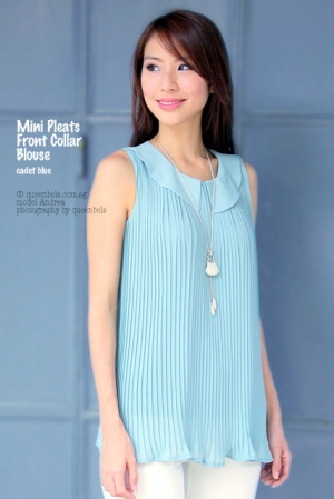 Mini Pleats Front Collar Blouse in Cadet Blue