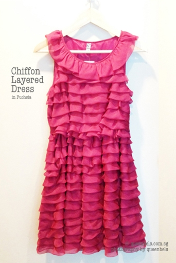 Chiffon Layered Dress in Fuchsia