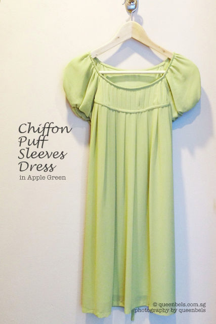 Chiffon Puff Sleeves Dress in Apple Green