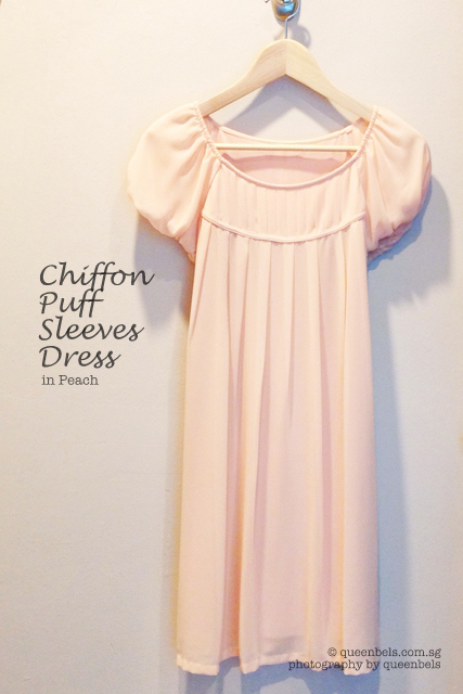 Chiffon Puff Sleeves Dress in Peach
