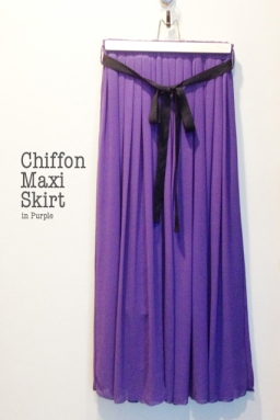 Chiffon Maxi Skirt in Purple