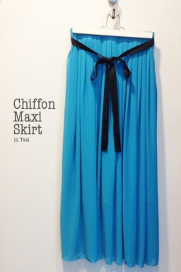 Chiffon Maxi Skirt in Teal