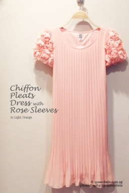 Chiffon Pleats Dress with Rose Sleeves in Light Orange