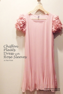 Chiffon Pleats Dress with Rose Sleeves in Pink Violet