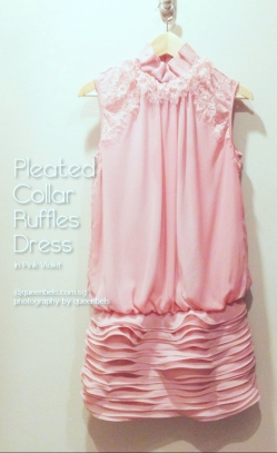 Pleated Collar Ruffles Chiffon Dress in Pink Violet