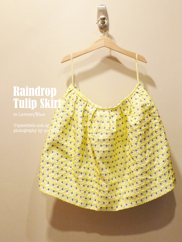 Raindrop Tulip Skirt Lemon Blue