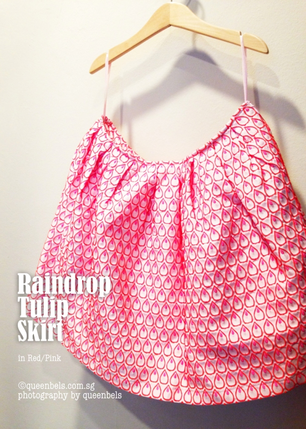Raindrop Tulip Skirt Red Pink