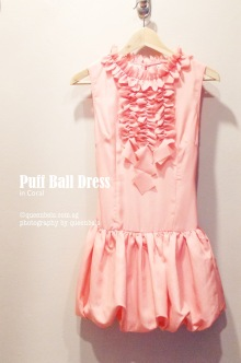 Puff Ball Dress in Coral