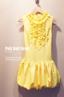 Puff Ball Dress in Lemon