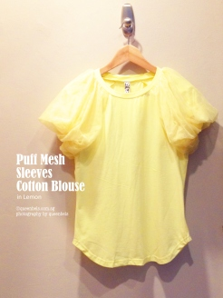 Puff Mesh Sleeves Cotton Blouse in Lemon