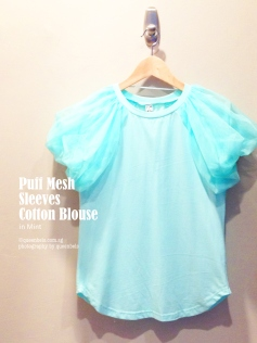 Puff Mesh Sleeves Cotton Blouse in Mint