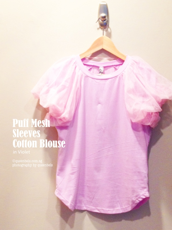 Puff Mesh Sleeves Cotton Blouse in Violet
