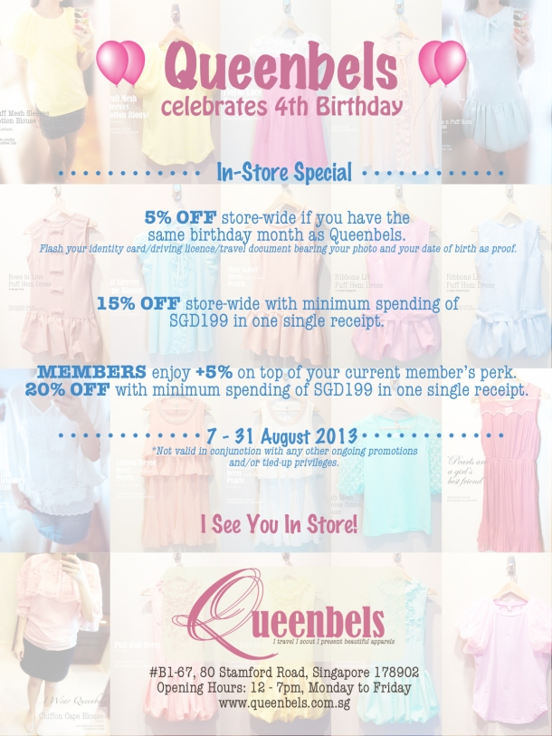 Queenbels celebrates 4th Birthday in-store specials!