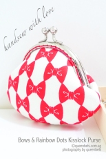 Bows n Rainbow Dots Kisslock Purse