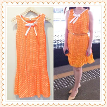 I Wear Queenbels Kam Kam Polka Dots Chiffon Dress in Bright Orange