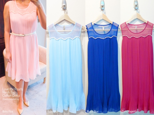 Love Me Pearls Mesh Top Chiffon Dress