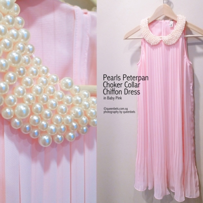 Pearls Peterpan Choker Collar Chiffon Dress in Baby Pink