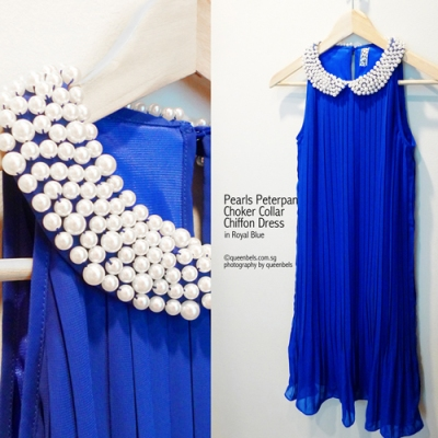 Pearls Peterpan Choker Collar Chiffon Dress in Royal Blue