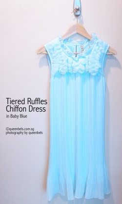 Tiered Ruffles Chiffon Dress in Baby Blue