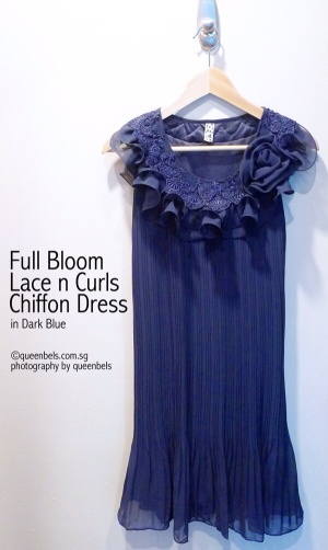 Full Bloom Lace n Curls Chiffon Dress in Dark Blue