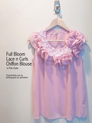 Full Bloom Lace n Curls Chiffon Blouse in Pink Violet