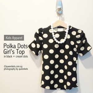 Polka Dots Girls Top in Black_Cream Dots 1