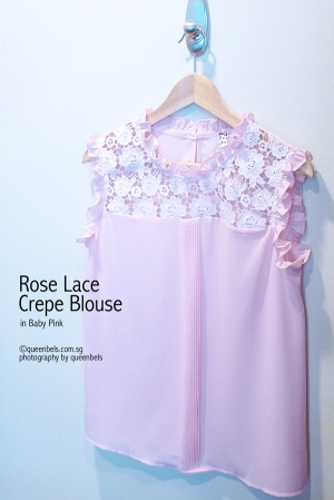 Rose Lace Crepe Blouse in Baby Pink