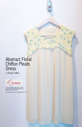 Abstract Floral Chiffon Pleats Dress in Pastel Toffee