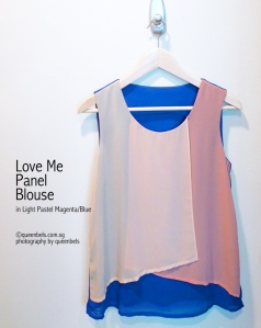 Love Me Panel Blouse in Light Pastel Magenta Blue