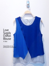 Love Supply Chiffon Blouse in Blue