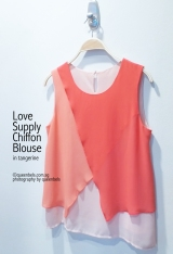 Love Supply Chiffon Blouse in Tangerine
