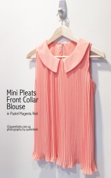 Mini Pleats Front Collar Blouse in Pastel Magenta Red